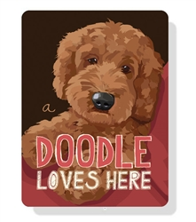 "Doodle - A Doodle Loves Here sign (Apricot dog) - 9"" x 12"""