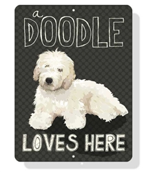"Doodle - A Doodle Loves Here sign 9"" x 12""  -  Cream Dog"