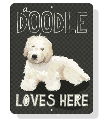 """Doodle - A Doodle Loves Here sign 9"""" x 12""""  -  Cream Dog"""