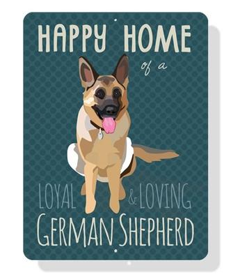"German Shepherd - Happy Home of a German Shepherd sign 9"" x 12""  -  Clay Sign"