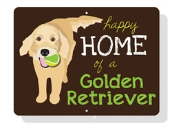 "Golden - Happy Home of a Golden Retriever Sign 12"" x 9"" (Horizontal) Chocolate Sign"