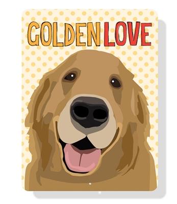 "Golden Love sign  9"" x 12""  - Yellow Sign"