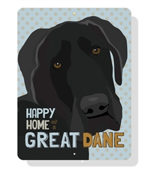 """Great Dane - Happy Home of a Great Dane sign  9"""" x 12"""" - Blue"""