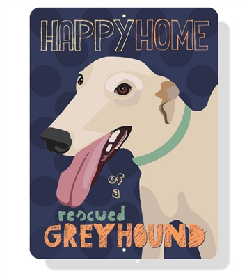 """Greyhound -Happy Home of a Rescued Greyhound sign  9"""" x 12"""" - Eggplant Sign"""