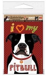 I (Heart) My Pitbull (Black & White Dog) Magnet