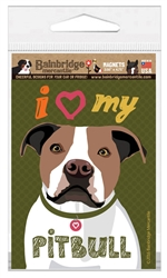I (Heart) My Pitbull (Brown & White Dog) Magnet