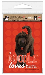 Doodle (Chocolate Dog - Red Background) Magnet