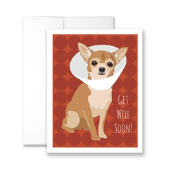 Get Well Soon (Chihuahua with cone) Greeting Card - Pack of 6 cards.