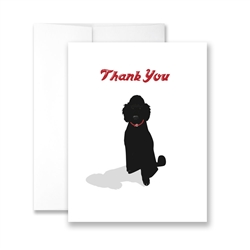 Thank You (Black Poodle) Greeting Card - Pack of 6 cards.