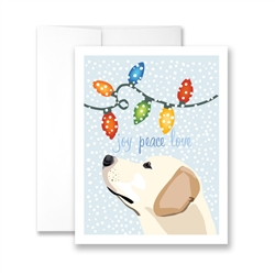 Joy, Peace Love (Yellow Lab) (blank) Greeting Card - Pack of 6 cards.