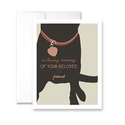 In loving memory of your beloved friend (Black Dog) (blank) Greeting Card - Pack of 6 cards.