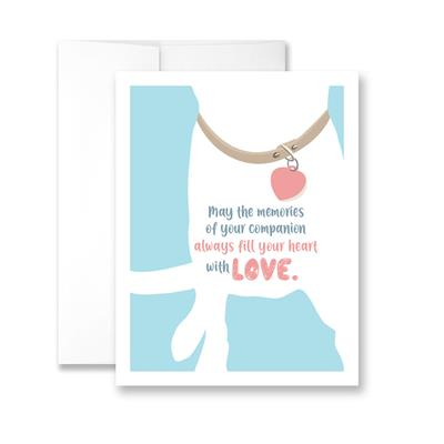 May the memories of your companion always fill your heart with love (White Dog) (blank) Greeting Card - Pack of 6 cards.