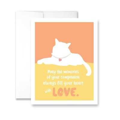 May the memories of your companion always fill your heart with love (Cat) (blank) Greeting Card - Pack of 6 cards.