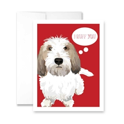 Valentine's Day  I Ruff You - White Dog (blank) Greeting Card - Pack of 6 cards.