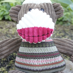 HuggleHounds Plush Durable Corduroy Super Power Plan Chubbie Buddie Sock Monkey with a Brown Sweater