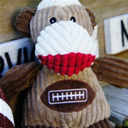 HuggleHounds Plush Durable Corduroy Super Power Plan Chubbie Buddie Sock Monkey with a Football Sweate