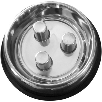 Stainless - Brake-Fast Dog Food Slow Feed Bowl - Stainless Steel