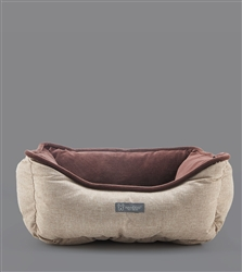 LINEN REVERSIBLE TAN / BROWN  PET BED  21 IN X 25 IN