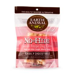 "Earth Animal No-Hide Salmon Small (4"") Dog Chews, 2 Pack"