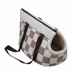 Carrier - Beige Checkered Pet Carry Tote