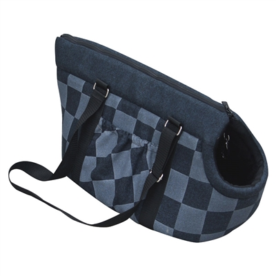 Carrier - Blue Checkered Pet Carry Tote