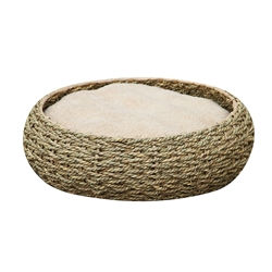 Petpals Seagrass Round Bed, 17-inch Fleece Bed with a Paper Rope Exterior