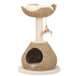 Petpals, Walk Up, 2 Level Cat Tree, with Condo, Perch, Sisal Post, and Feathered Toy