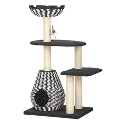 "Petpals, ACE-Black and White 49"", Four-Level Activity Tower, W/ a Soft Hand-Woven Paper Rope Condo, Perch, Scratching Posts, and Toy."
