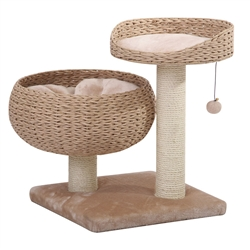 Petpals Cozy Cat Tree with Perch, Bowl, Cushion, and Sisal Scratching Posts