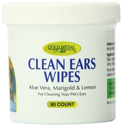 Gold Medal Pets Clean Ear Wipes for Dogs and Cats, 90 count