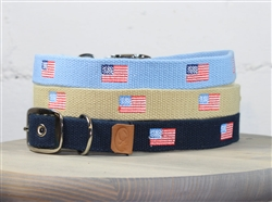 American Flag Embroidered Dog Collar