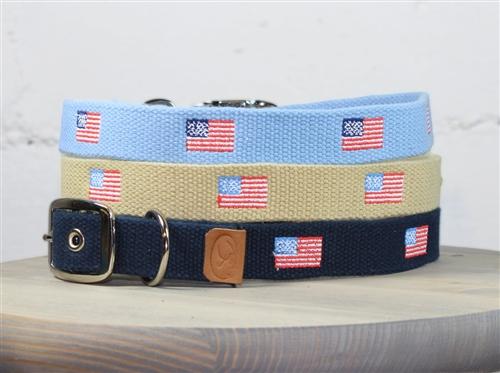 American Flag Embroidered Dog Collar
