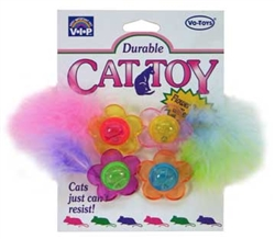 KITTY FLOWER BUTTON WITH FEATHERS
