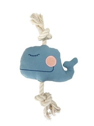 SimplyFido Basic Collection - Little Moby Whale Blue Rope Toy