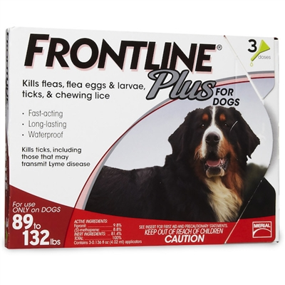 3 Dose Frontline Plus for Dogs 89-132 lbs - RED