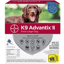 K9 Advantix II Extra Large Dog (over 55 lbs.) - 4 MONTH (BLUE)