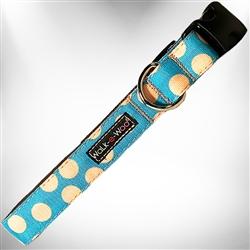 Tan Polka Dot on Turquoise Dog Collars and Leads