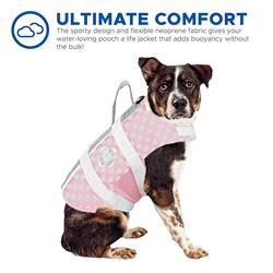 Dog Life Jacket - Paws Aboard Pink/Grey Polka Dot Neoprene Pet Life Jacket Vest **OUT OF STOCK SIZES WILL BE AVAIL MID JUNE