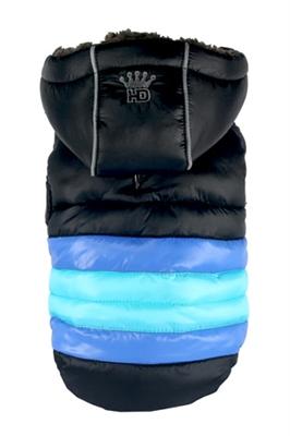Soft Stripe Puffer Coat - BLACK