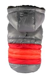 Soft Stripe Puffer Coat - GRAY
