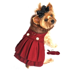Designer Burgundy Wool Blend Classic Dog Coat Harness and Fur Collar with Matching Leash