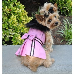Designer Pink Wool Blend Classic Dog Coat Harness and Fur Collar with Matching Leash