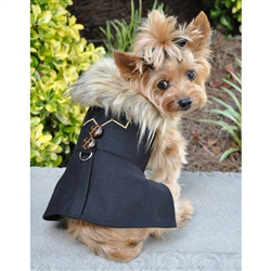 Black Chevron Wool Classic Dog Coat Harness & Fur Collar w Matching Leash