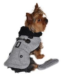 Designer Grey Herringbone Dog Harness Coat with Matching Leash