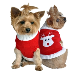 Red Rudolph Holiday Dog Sweater 100% Pure Combed Cotton
