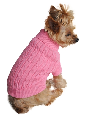 100% Pure Combed Cotton Dog Sweater SOLID COLOR CABLE KNIT
