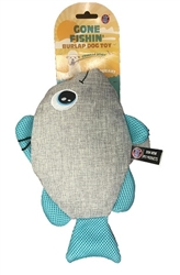 "Gone Fishin' Burlap Mesh Fish 11"" Long"
