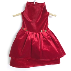 Red Stretch Velvet Valentine's Dress