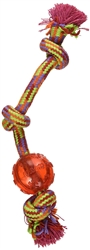 "Mammoth Pet Flossy Chews Small 11"" Extra Tug Rope with TPR Ball Assorted Colors"
