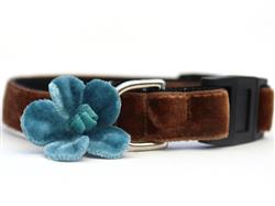 Camellia Velvet Blue Cat Collar